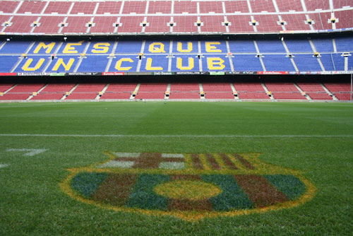 the Camp Nou with fc barcelona logo