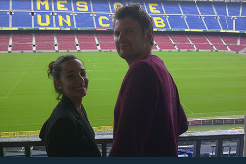 happy clients posing at the Camp Nou