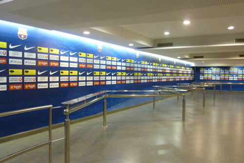 The mixed zone atthe Camp Nou